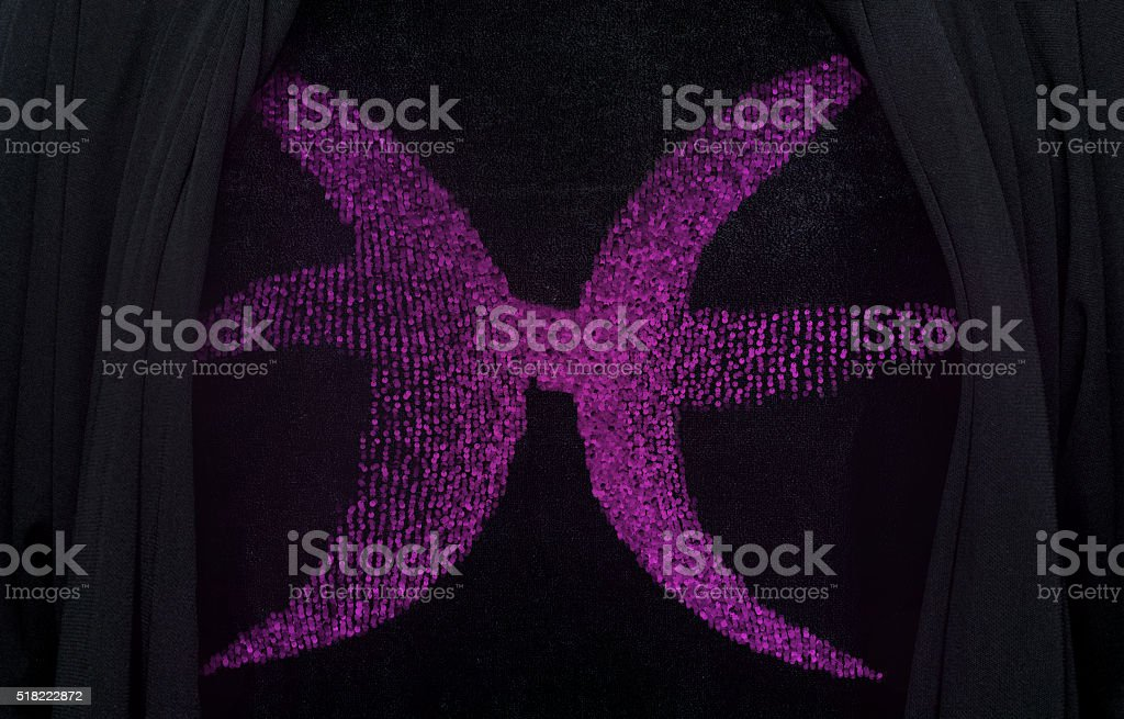 Sequin  pisces  embroidery stock photo