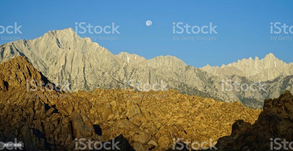 Sequoia National Park Moonset stock photo