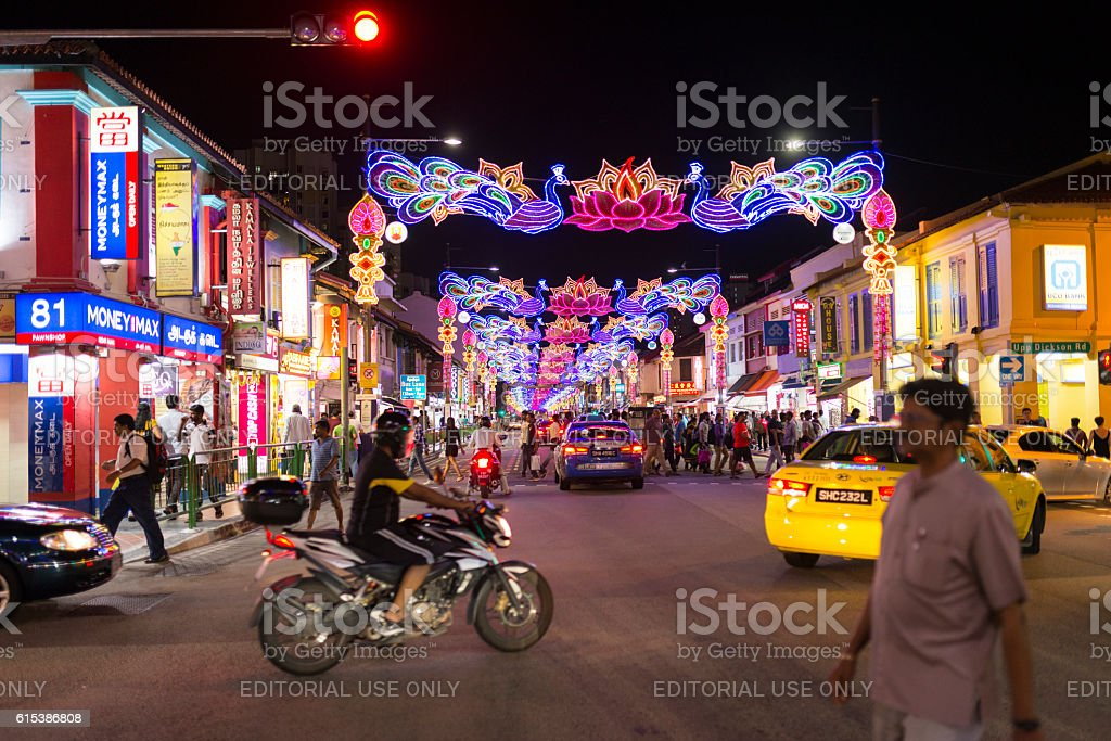 Serangoon Road Deepavali Festive Light up Decoration, Singapore stock photo