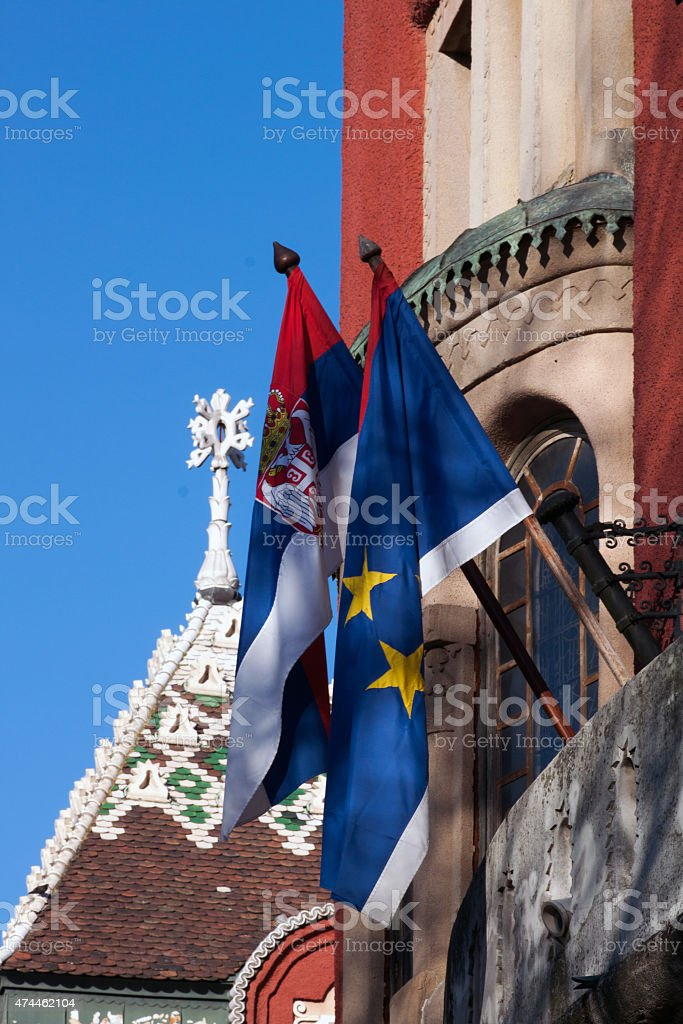 Serbia and Vojvodina flags stock photo