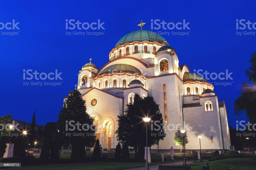 Serbia, Belgrade, Beograd, Church of Saint Sava at night stock photo
