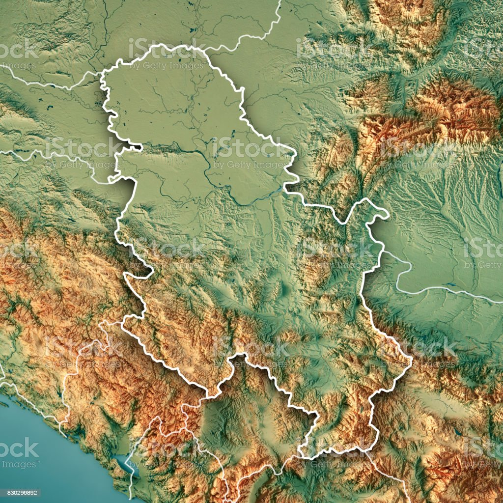 Serbia Country 3D Render Topographic Map Border stock photo