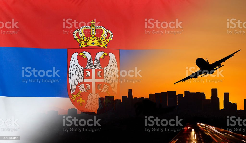Serbia fabric Flag Travel and Transport Concept stock photo