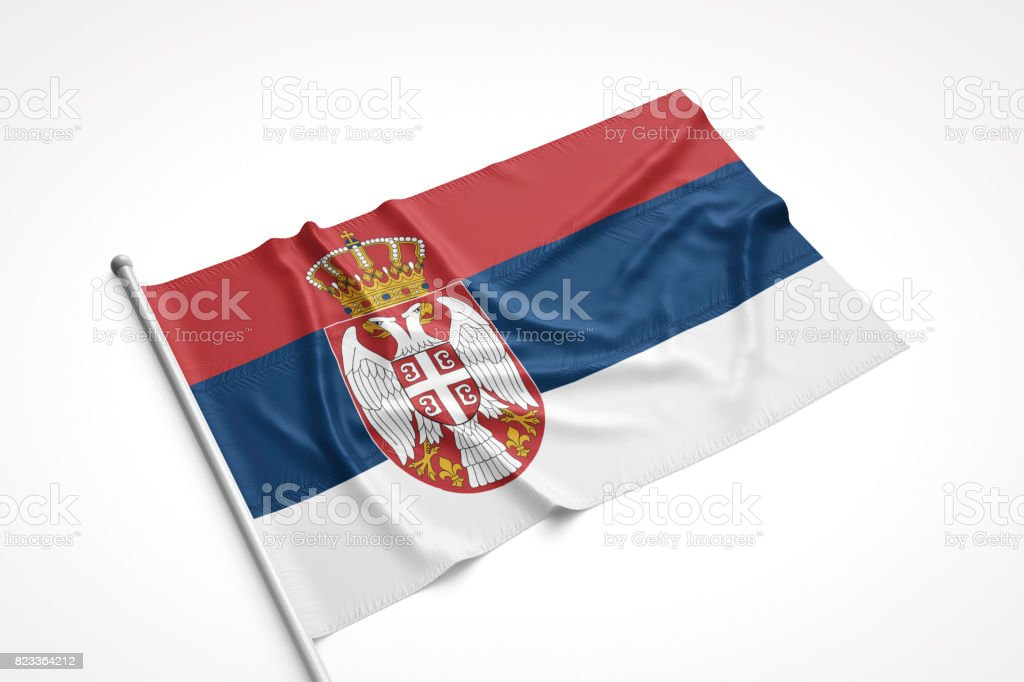 Serbia Flag is Laying on a White Surface stock photo