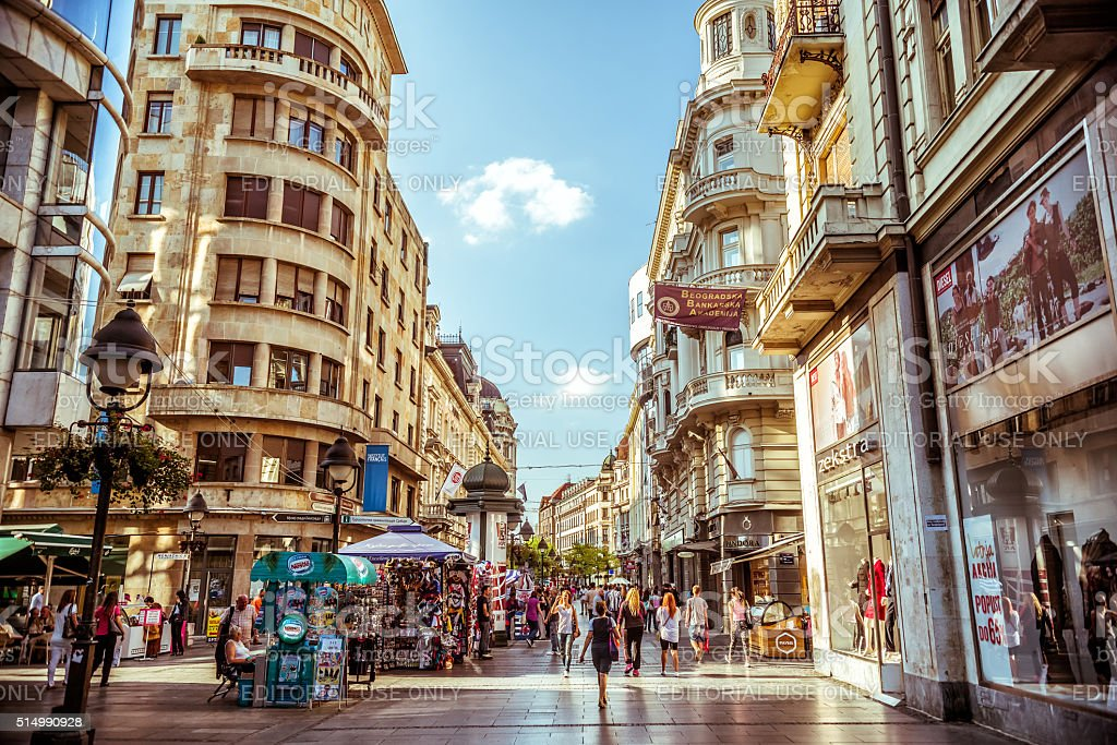 Serbia. Knez Mihailova Street, a main shopping mile of Belgrade. stock photo