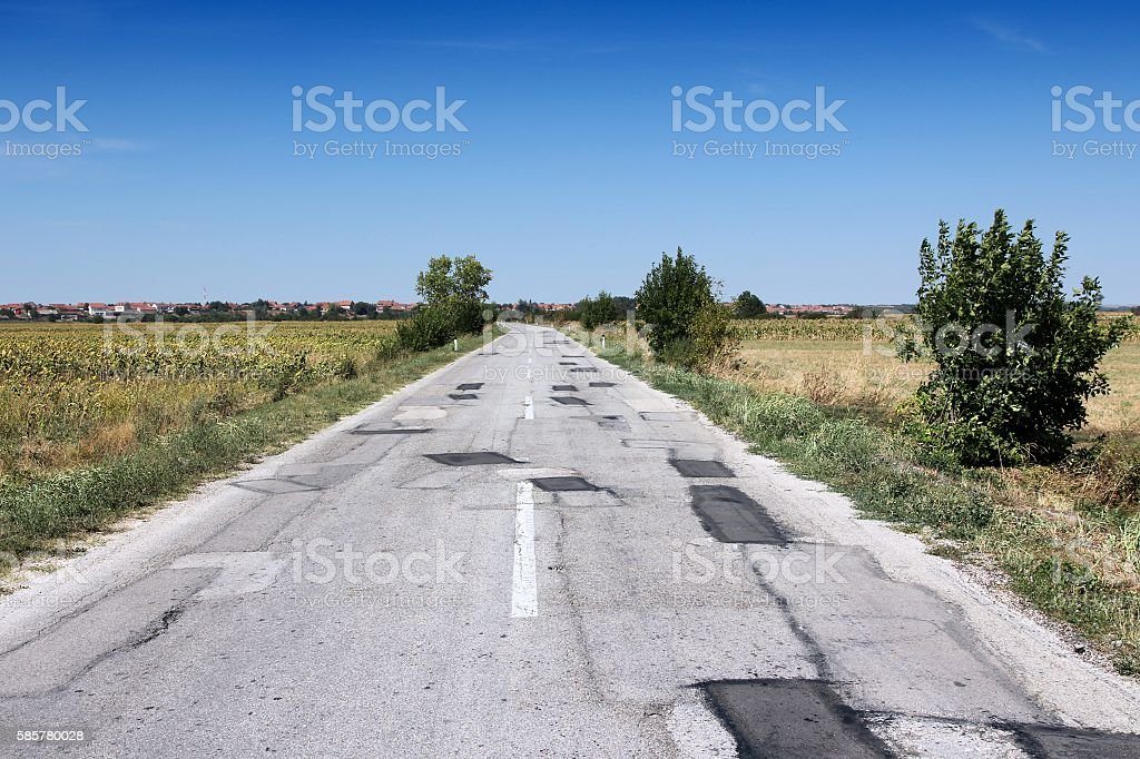 Serbia road damage stock photo
