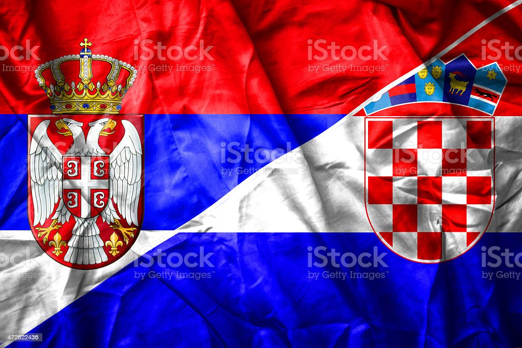 Serbian and Croatian flag stock photo