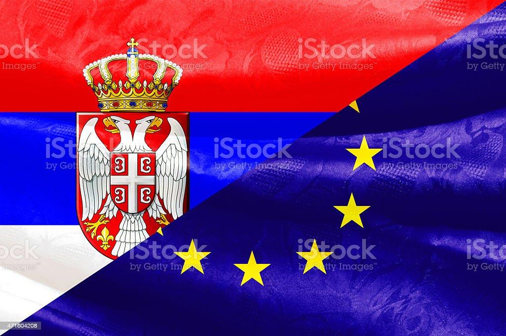 Serbian and Europe Union flag stock photo
