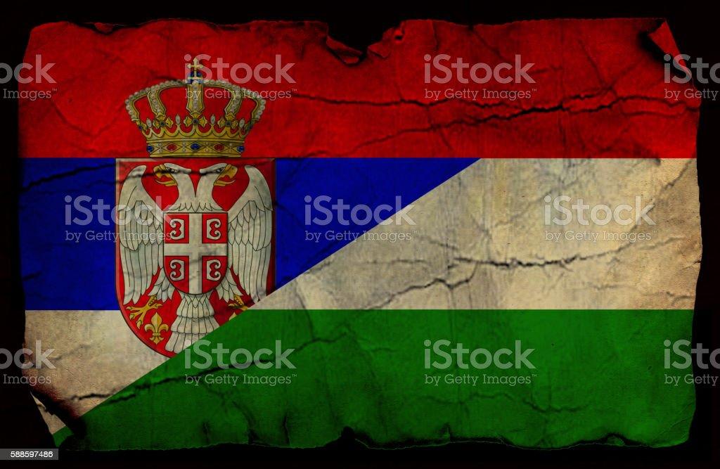 Serbian and Hungarian flag stock photo