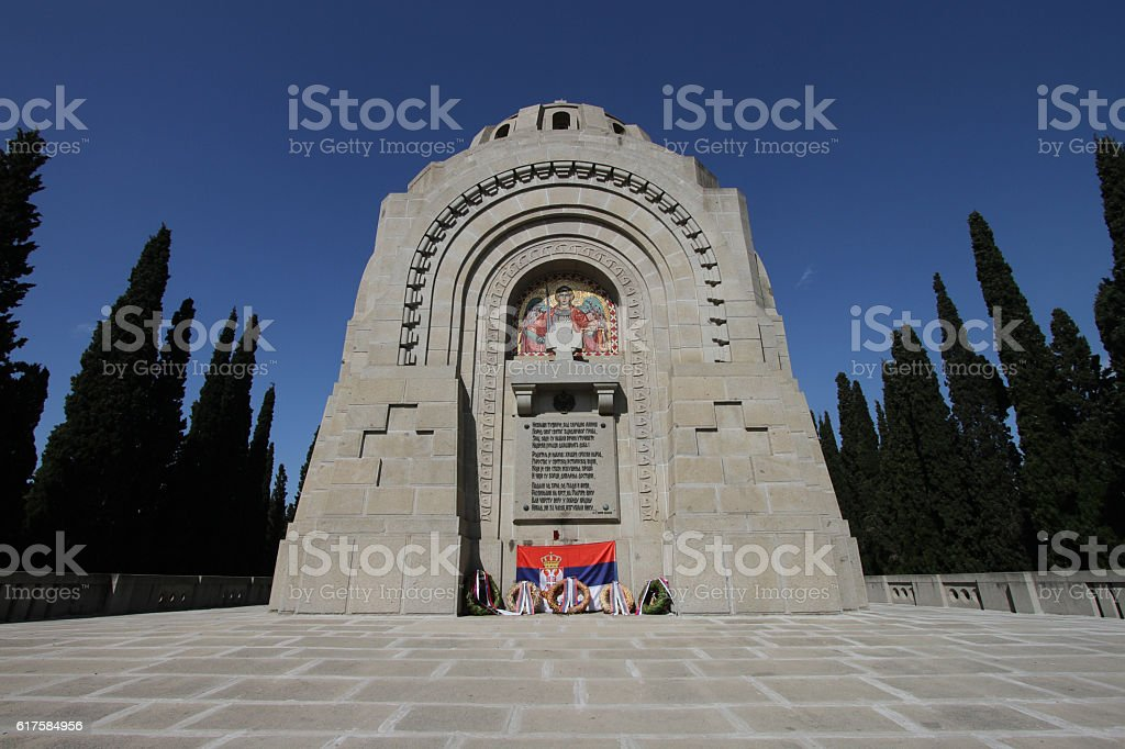 Serbian Chapel at WW1 cemetery in Thessaloniki stock photo