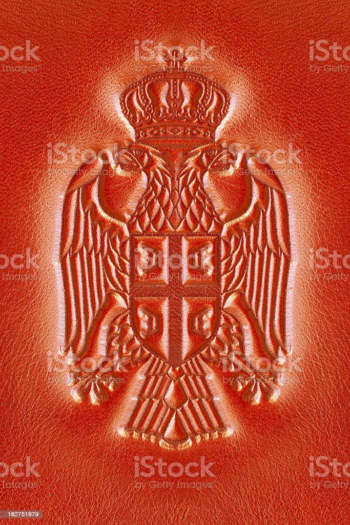 Serbian Coat of Arms - Cockade stock photo
