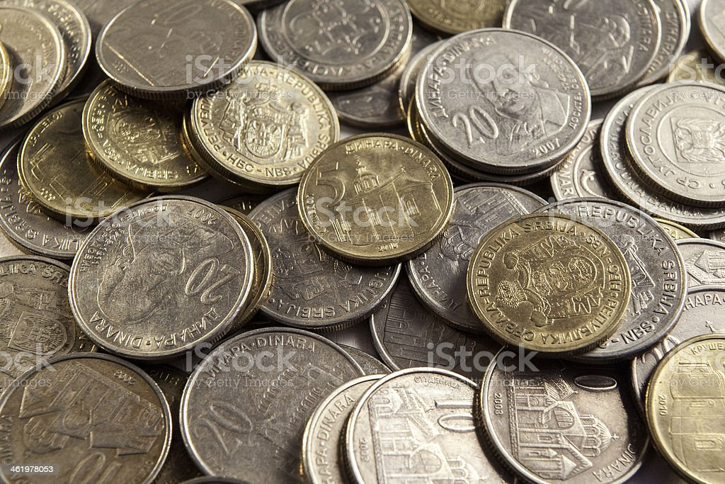Serbian coins stock photo