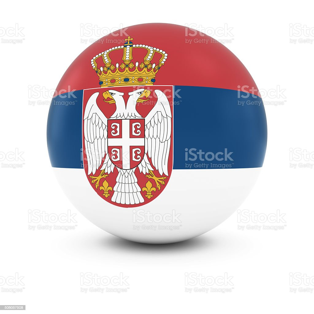 Serbian Flag Ball - Flag of Serbia on Isolated Sphere stock photo