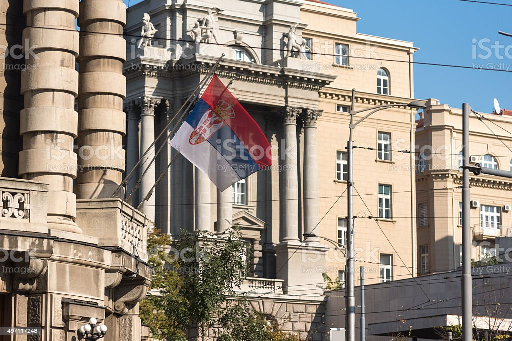 Serbian flag on Government building in Belgrade stock photo