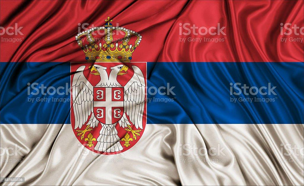 Serbian flag - silk texture stock photo