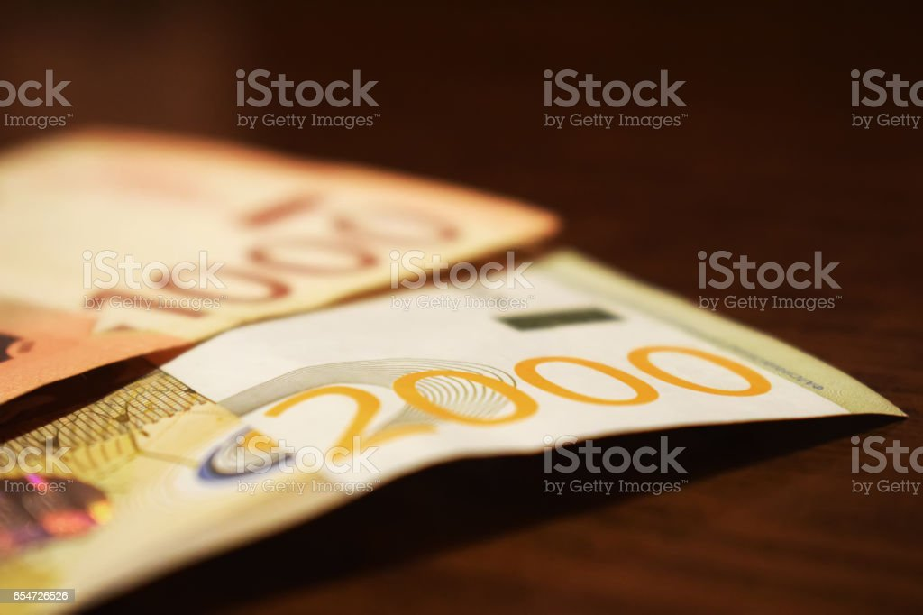 Serbian money in paper, banknote 1000 and 2000 dinars value stock photo