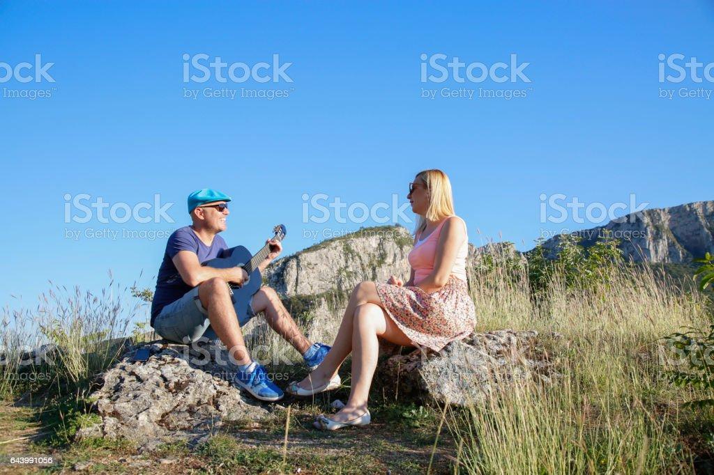 Serenade in mountain stock photo