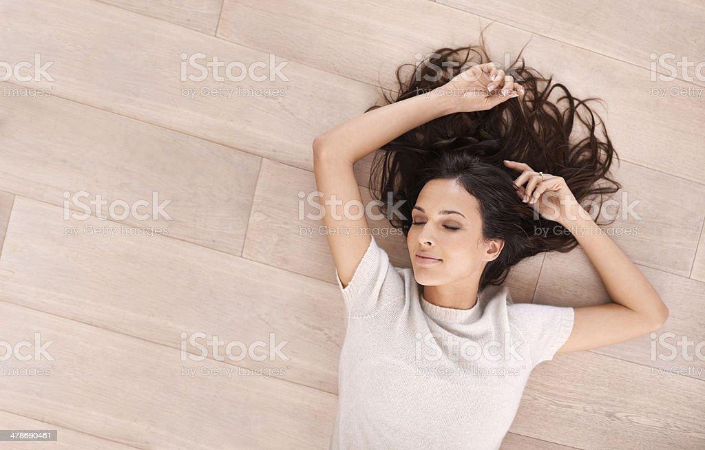 Serene beauty on the floor stock photo