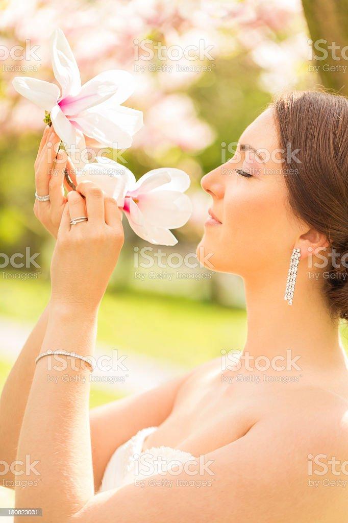 Serene Bride in park royalty-free stock photo