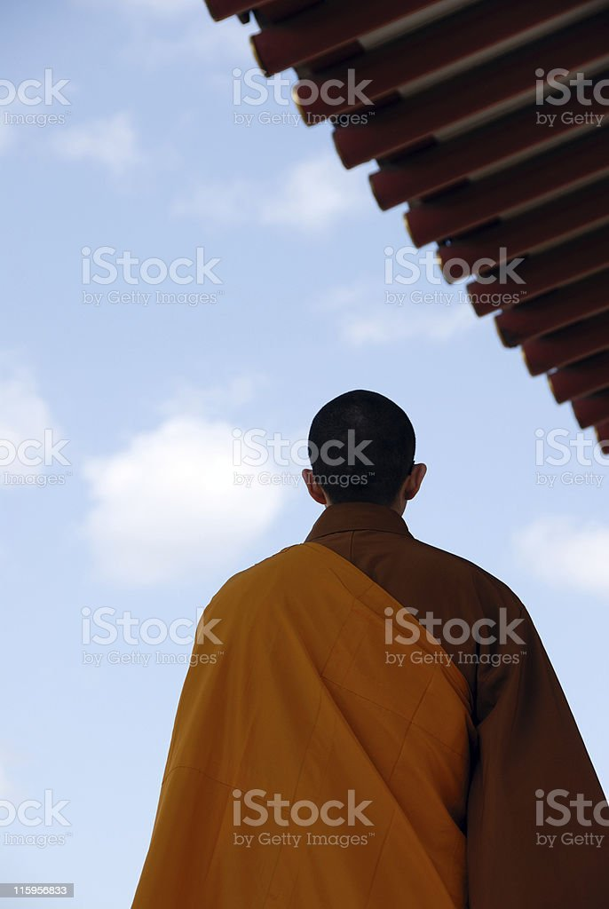 Serene Buddhist Monk Looks Toward Heavens royalty-free stock photo