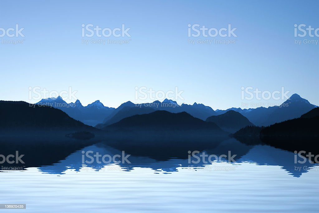 XXL serene coastline mountains royalty-free stock photo
