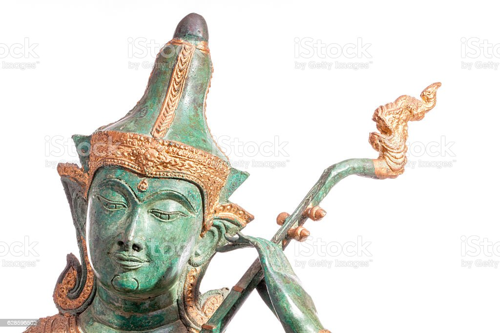 Serene expression of a Thai musician stock photo