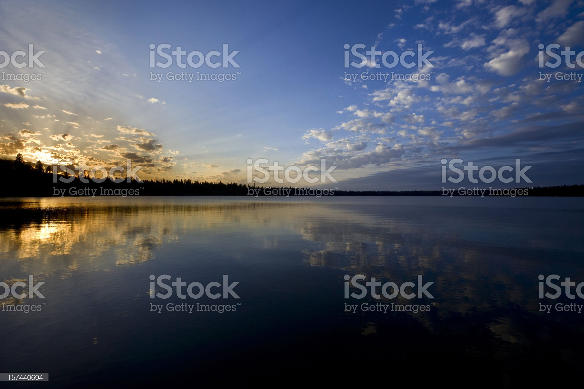 Serene Lake at sunset royalty-free stock photo