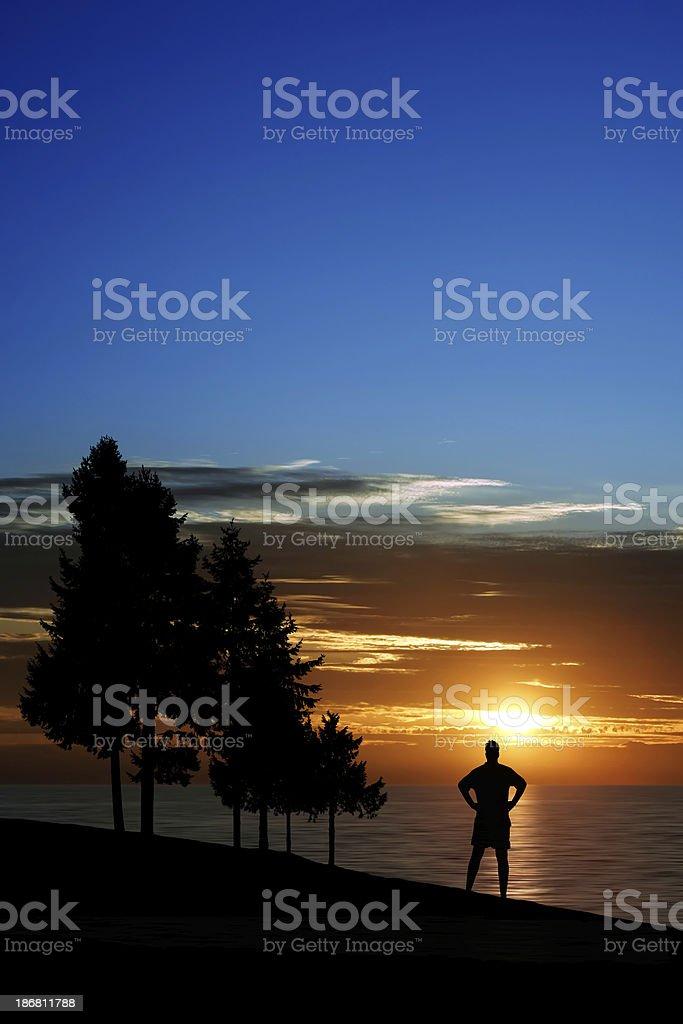 XXL serene man silhouette royalty-free stock photo