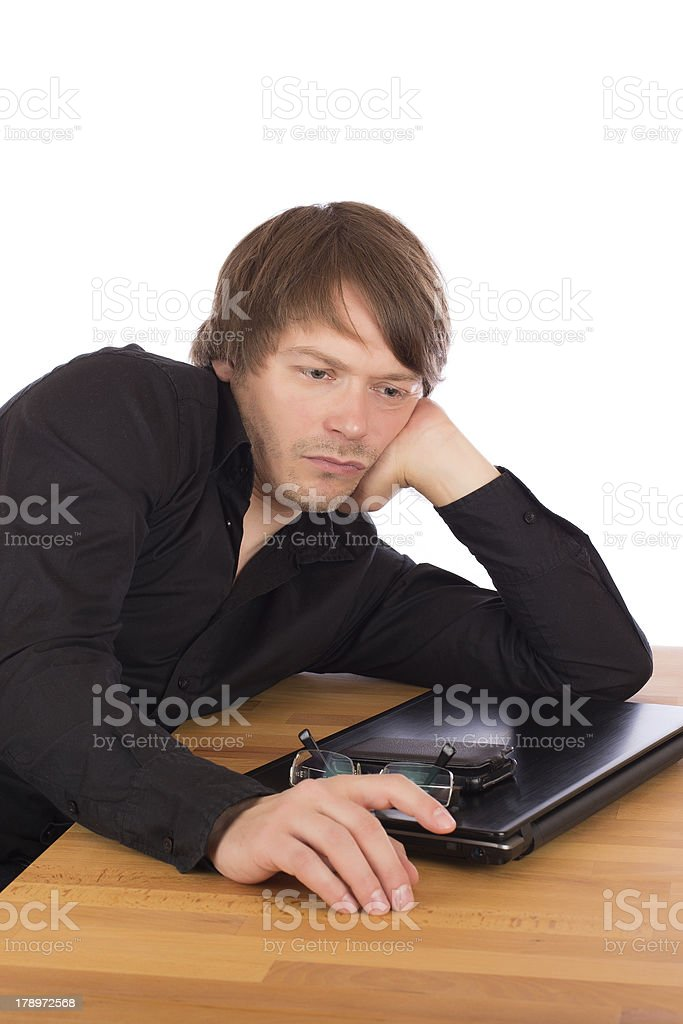 Serene man thinking about a business idea royalty-free stock photo