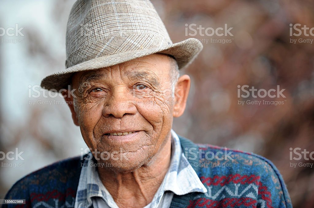 Serene Old Man smiling stock photo