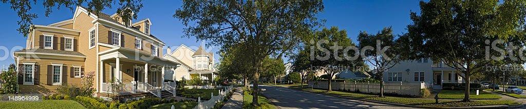 Serene summer suburbs stock photo
