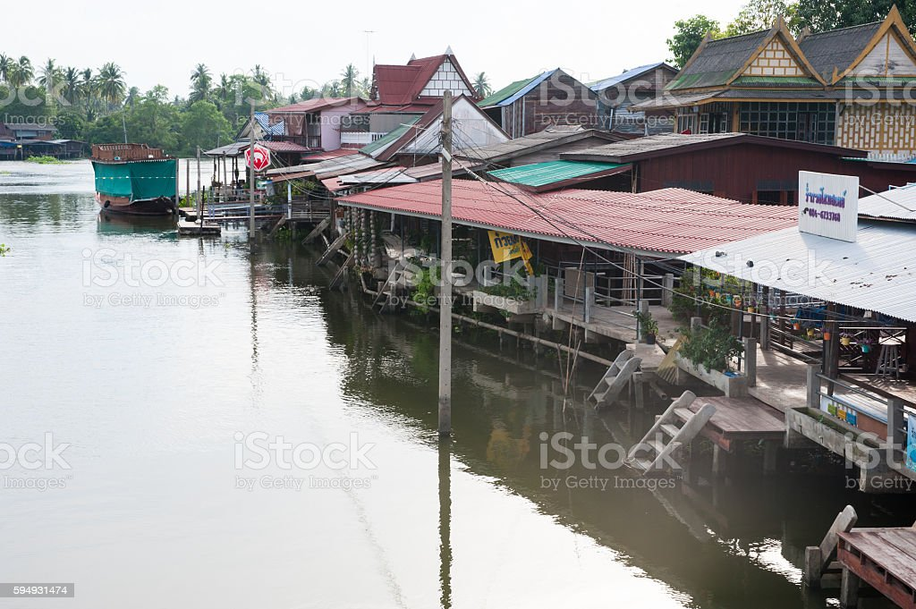 Serenity of Thai Traditional House near the river. stock photo