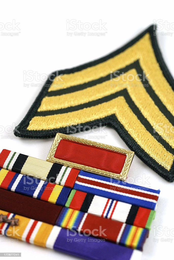 Sergeant Insignia with Commendation Ribbons royalty-free stock photo