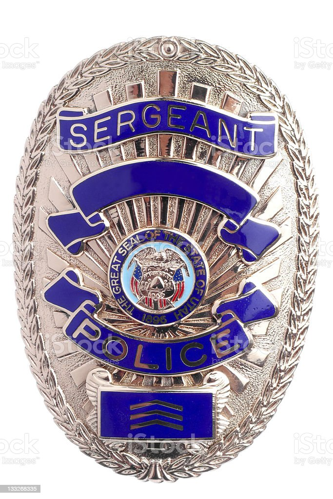 Sergeant police badge in frontal view stock photo