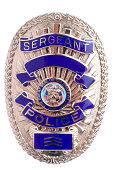 Sergeant police badge in frontal view