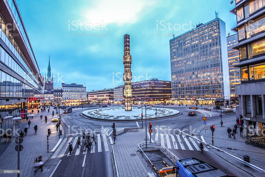 Sergels Torg with glass Obelisk Kristallvertikalacc in Stockholm stock photo