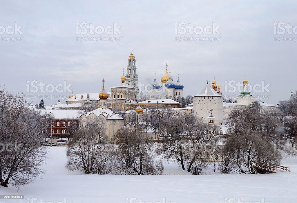 Sergiev Posad. Holy Trinity-Sergius Lavra in winter time stock photo
