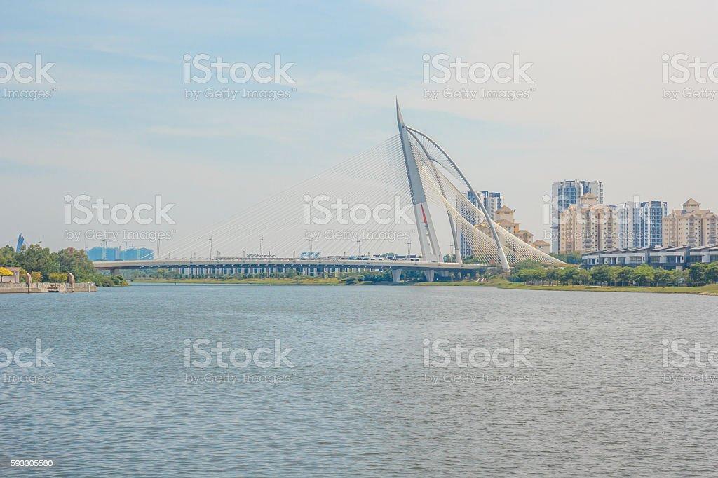 Seri Wawasan Bridge in Putrajaya, Malaysia stock photo