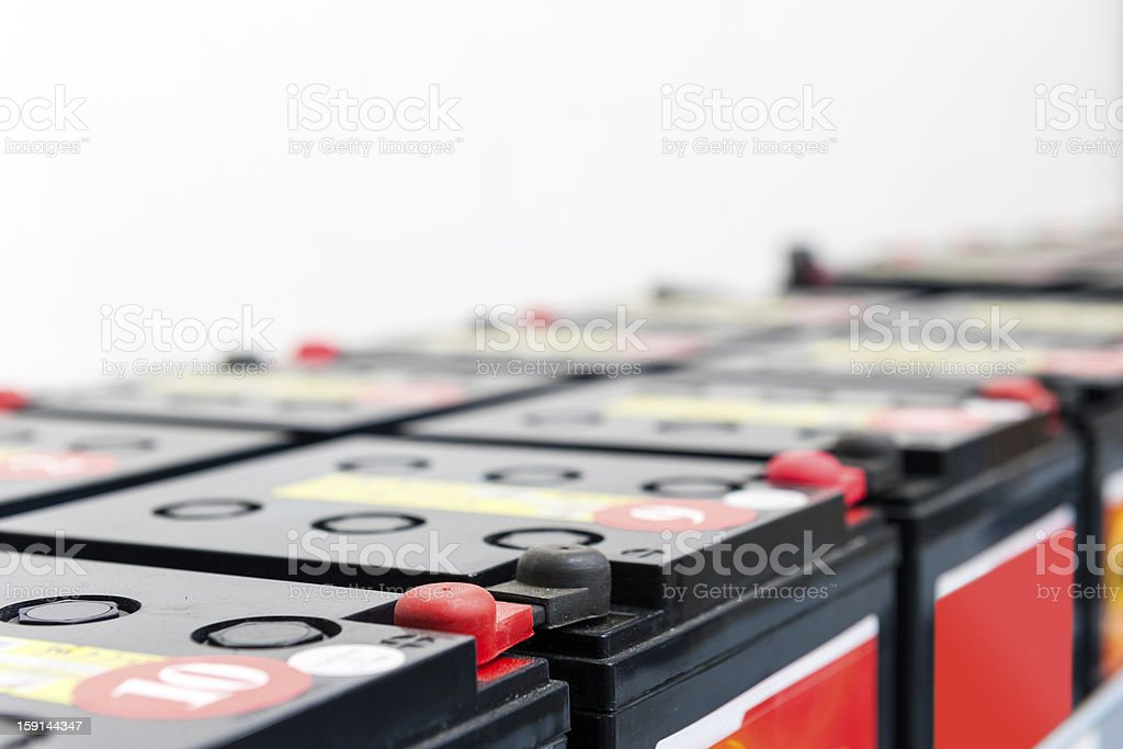 serial attached batteries stock photo