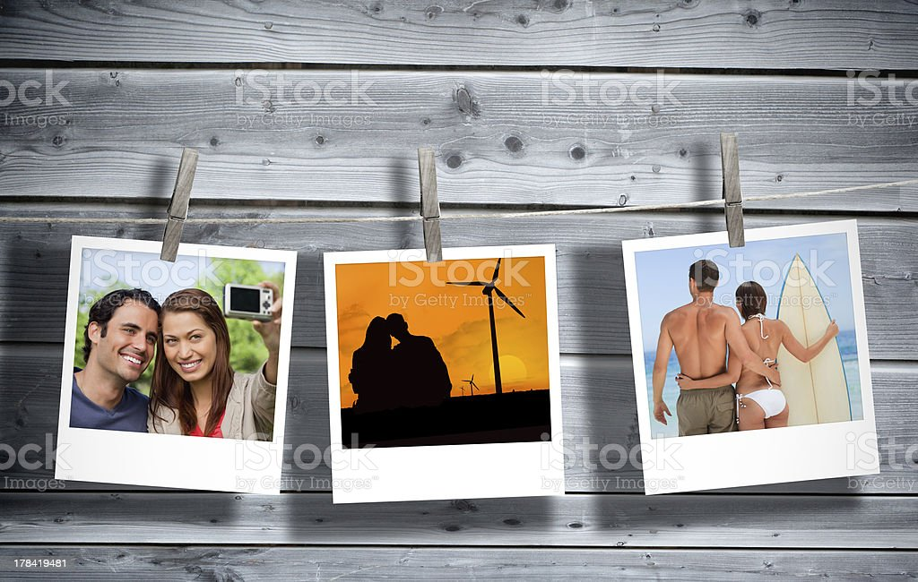 Serial instant photos of holiday scenes stock photo