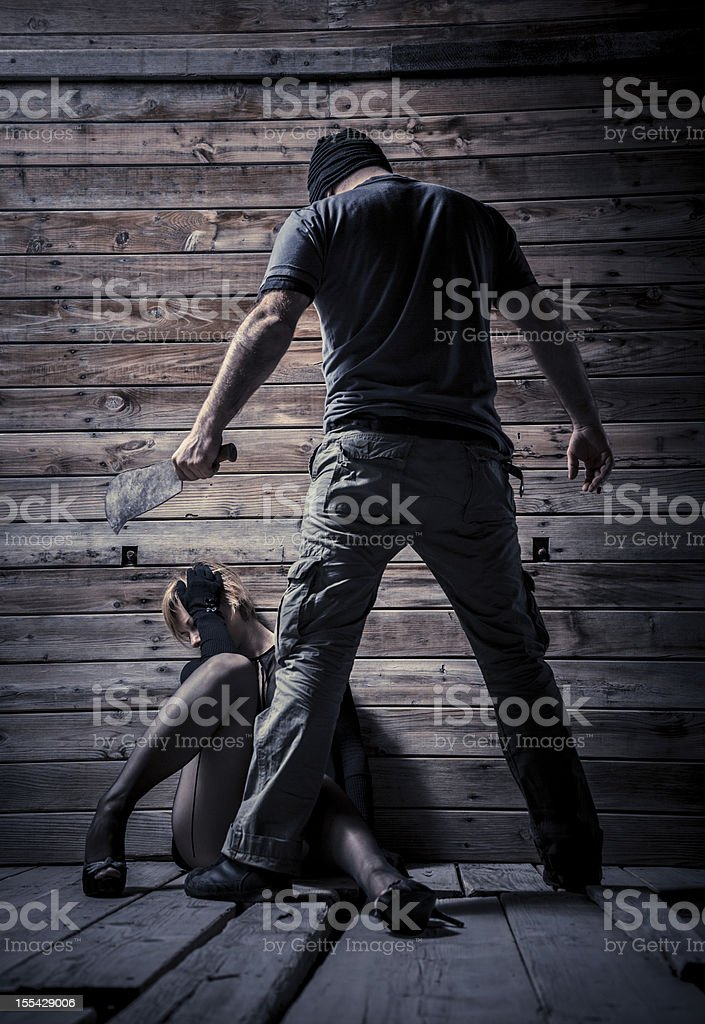 Serial killer and his new victim stock photo