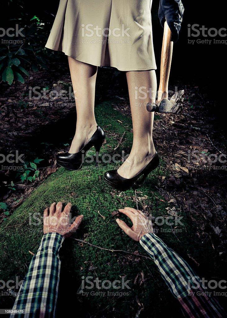 serial killer woman in the crime scene stock photo