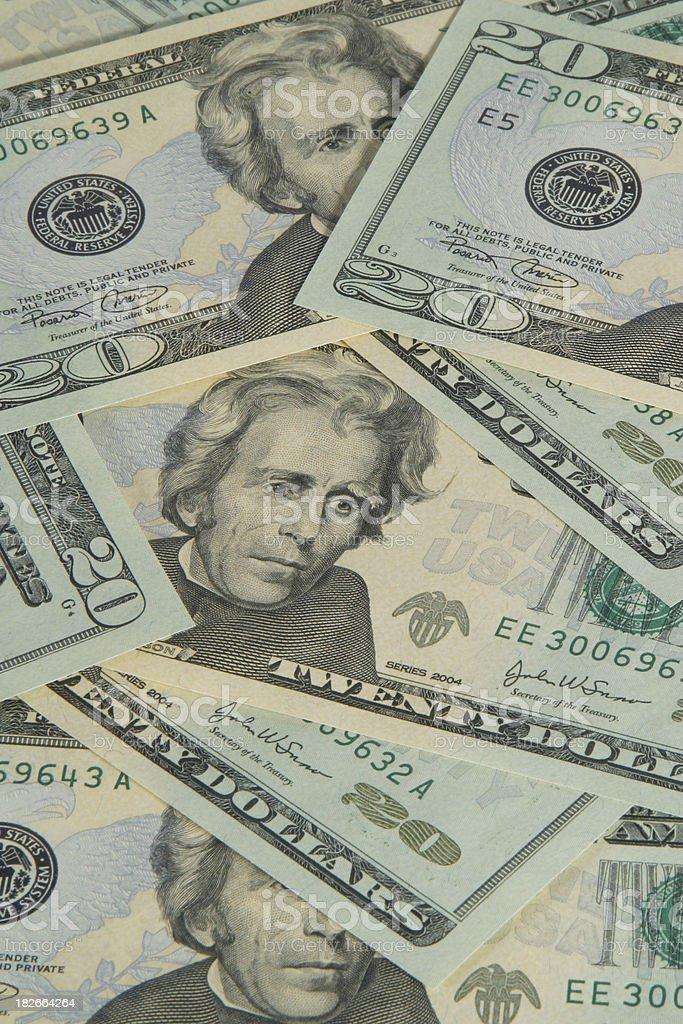 Series 2004 Twenty Dollar Bills 1, US Currency royalty-free stock photo