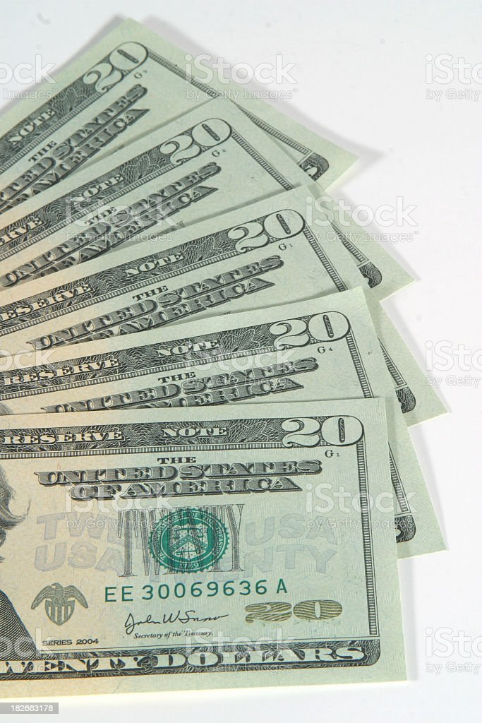 Series 2004 Twenty Dollar Bills, US Currency royalty-free stock photo