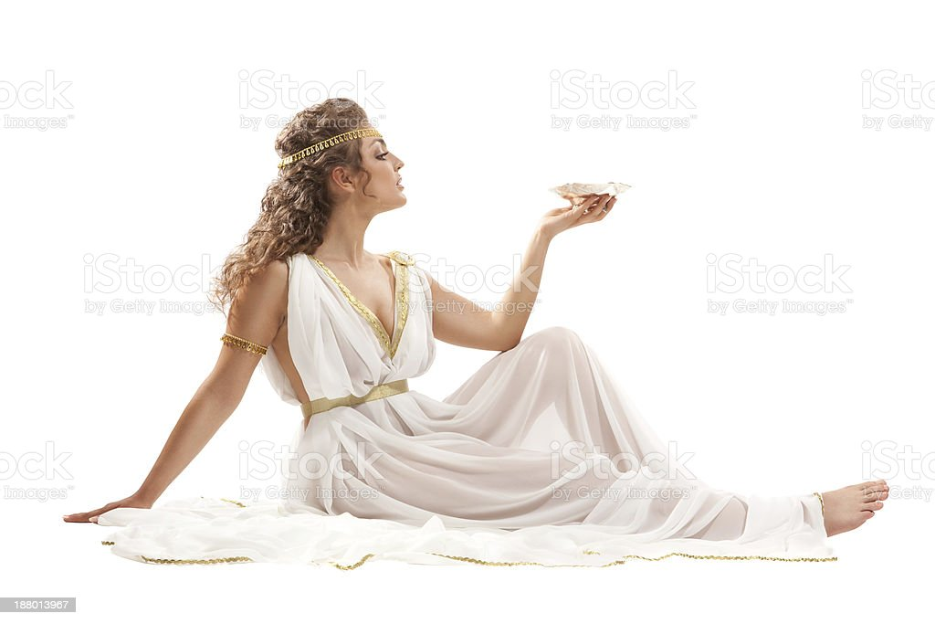 Series: Classical Greek Goddess in Tunic Holding Bowl royalty-free stock photo