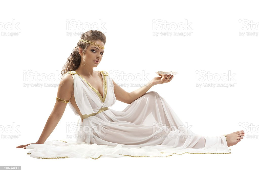 Series: Classical Greek Goddess in Tunic Holding Bowl stock photo