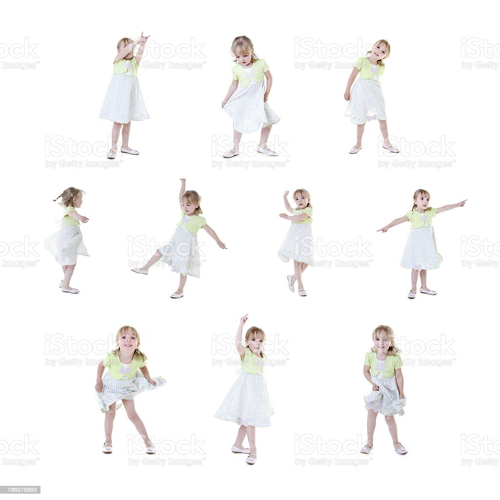 Series: Composite of Adorable Caucasian Little Girl Dancing royalty-free stock photo