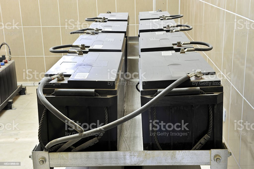 Series connetted batteries stock photo