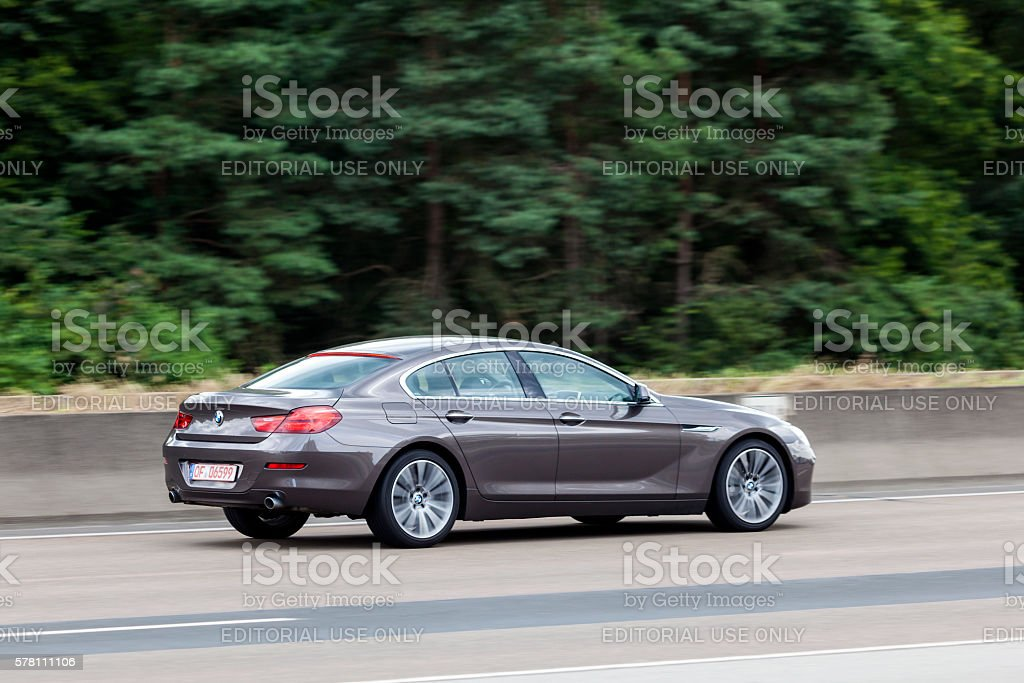 BMW 6 Series Coupe on the highway stock photo