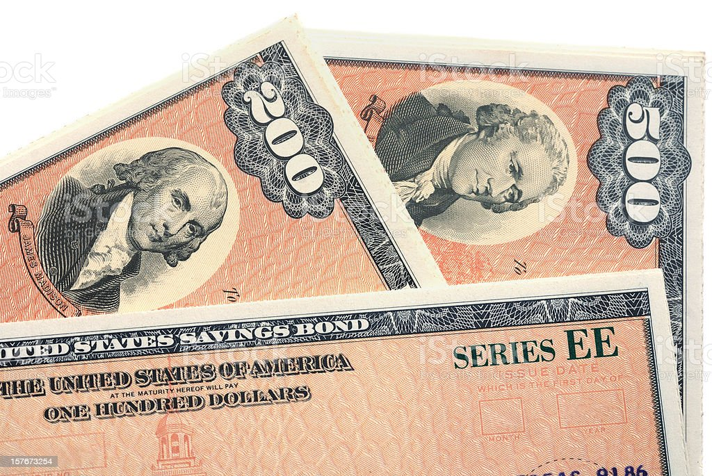 Series EE United States Savings Bonds royalty-free stock photo